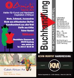 Aminto - Buchhandlung im Schanzenviertel - Gabah African Art - Kevin Murphy Hairdressing